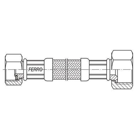 """Ferro wąż w oplocie  3/4""""×1/2"""" L40cm nakrętno - nakrętny"""