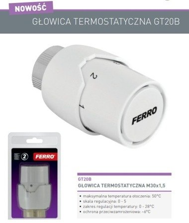GŁOWICA TERMOSTATYCZNA GT20B FERRO